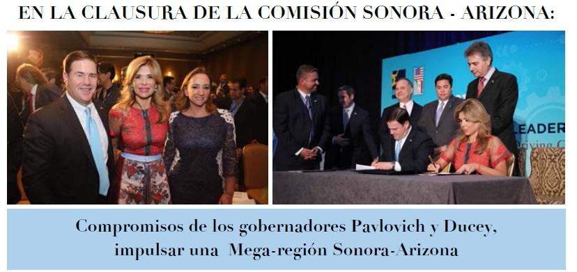 En la Clausura de la Comisión: Compromisos de los gobernadores Pavlovich y Ducey, impulsar una  Mega-región Sonora-Arizona