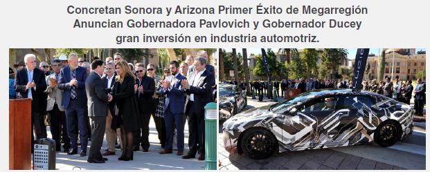 Concretan Sonora y Arizona Primer Éxito de Megarregión Anuncian Gobernadora Pavlovich y Gobernador Ducey gran inversión en industria automotriz.