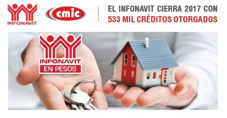 EL INFONAVIT CIERRA 2017 CON 533 MIL CRÉDITOS OTORGADOS